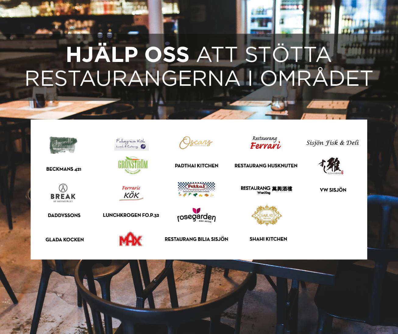 Hjälp oss att stötta restauranger i området
